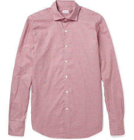 Incotex Glanshirt Slim-Fit Embroidered Check Cotton Shirt