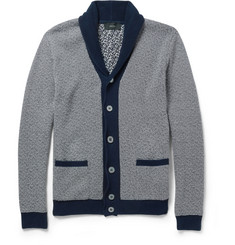 Incotex Zanone Striped Shawl-Collar Cotton Cardigan