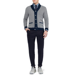 Slowear Zanone Striped Shawl-Collar Cotton Cardigan