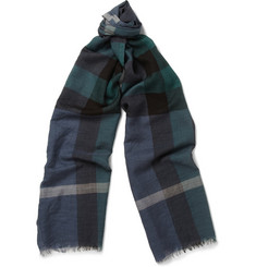 Burberry Shoes & Accessories Check Fine Wool and Silk-Blend Scarf
