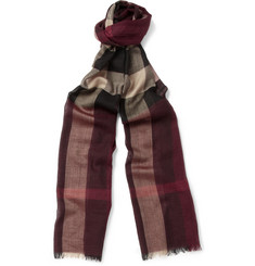 Burberry Shoes & Accessories Plaid Wool and Silk-Blend Scarf