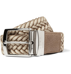 Etro 4cm Reversible Leather-Trimmed Woven Belt