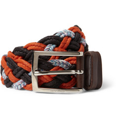 Etro Orange 3.5cm Leather-Trimmed Woven Belt
