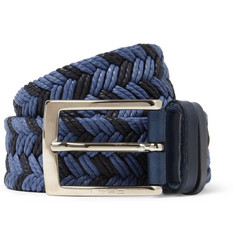 Etro Blue 3.5cm Leather-Trimmed Woven Belt