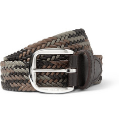 Etro Brown 3.5cm Woven Textured-Leather Belt