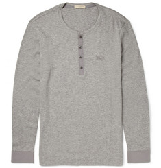 Burberry Brit Ribbed Melange Cotton and Wool-Blend Henley T-Shirt