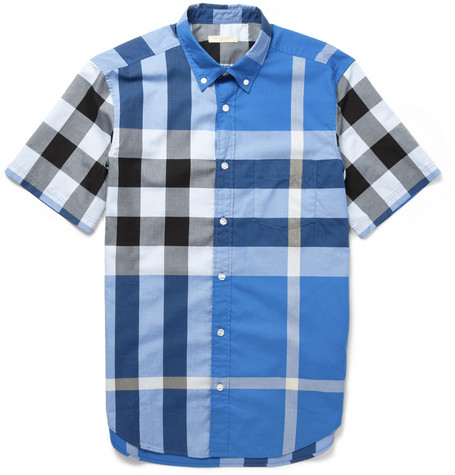 Burberry Brit Button-Down Collar Check Cotton Shirt
