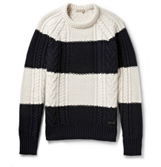 Burberry Brit Striped Wool and Cashmere-Blend Sweater