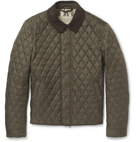 Burberry Brit Corduroy-Collar Quilted Jacket