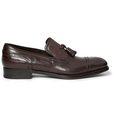 Brioni Textured-Leather Tasselled Loafers