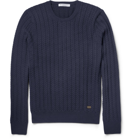 Burberry London Knitted Wool and Cashmere-Blend Sweater
