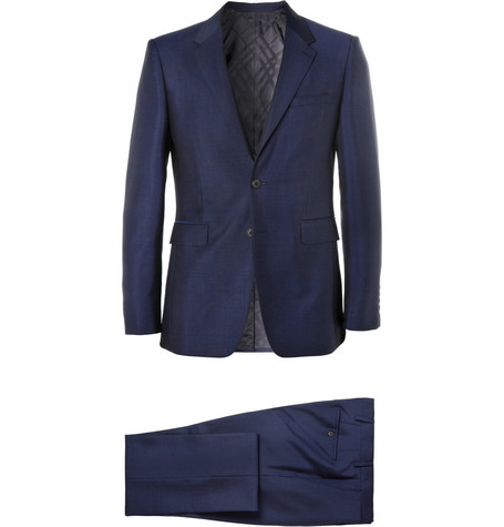 Burberry London Blue Wool and Mohair-Blend Suit