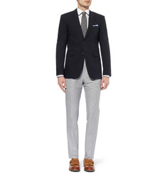 Burberry London Navy Slim-Fit Cotton Blazer