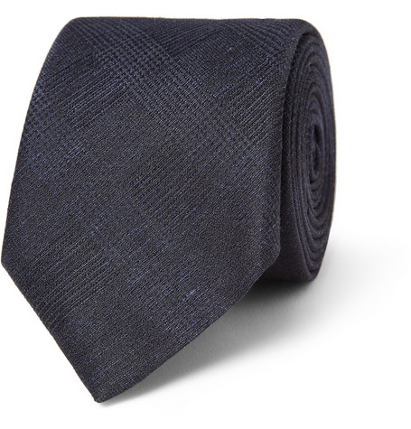 Burberry London Woven-Check Linen and Silk-Blend Tie