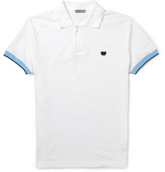 Bottega Veneta Zip-Placket Cotton-Pique Polo Shirt