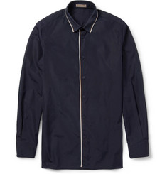 Bottega Veneta Slim-Fit Contrast-Collar Cotton Shirt