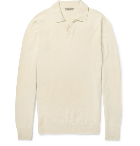 Bottega Veneta Cashmere Long-Sleeved Polo Shirt
