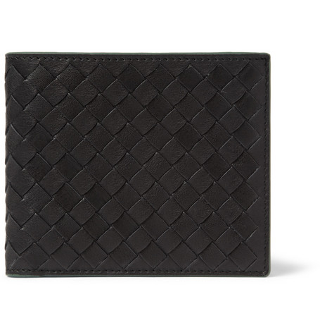 Bottega Veneta Intrecciato Leather Billfold Wallet with Contrast Lining