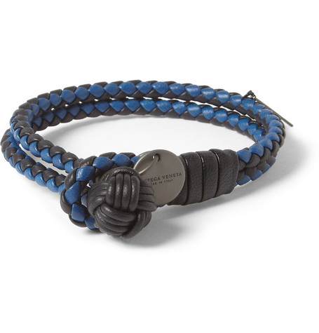 Bottega Veneta Two-Tone Intrecciato Leather Bracelet
