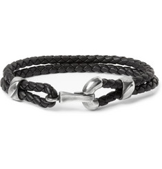 Bottega Veneta Intrecciato Leather and Burnished Silver Bracelet
