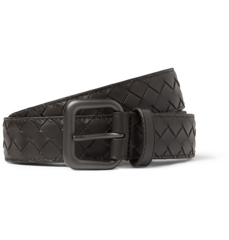Bottega Veneta Dark-Brown 2.5cm Intrecciato Woven-Leather Belt