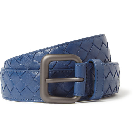 Bottega Veneta Blue 3cm Intrecciato Leather Belt