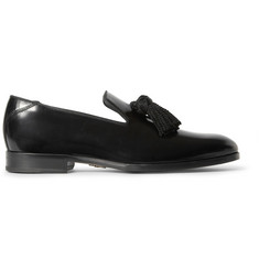 Jimmy Choo Foxley Tasslled Polished-Leather Slippers