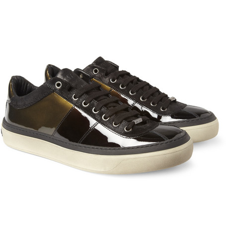 Jimmy Choo Portman Patent-Leather and Burnished-Suede Sneakers