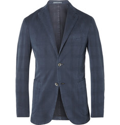 Boglioli Slim-Fit Unstructured Check Cotton and Silk-Blend Blazer