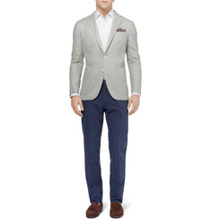 Boglioli Dover Slim-Fit Unstructured Knitted Cotton and Silk-Blend Blazer