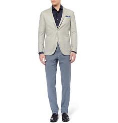 Boglioli Tapered Cotton-Blend Piqué Suit Trousers