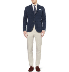 Boglioli Slim-Fit Herringbone Cotton and Wool-Blend Trousers