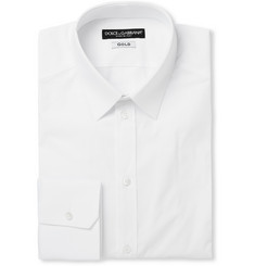 Dolce & Gabbana White Gold-Fit Cotton-Blend Shirt