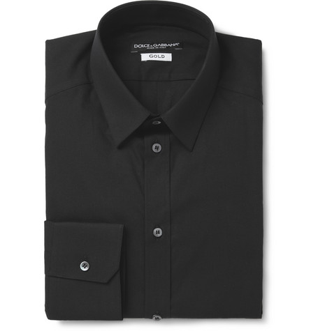 Dolce & Gabbana Black Gold-Fit Cotton-Blend Shirt