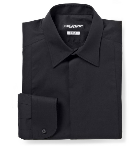 Dolce & Gabbana Gold-Fit Cotton and Silk-Blend Tuxedo Shirt