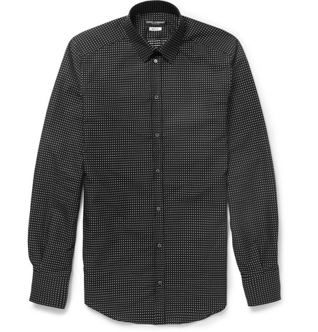 Dolce & Gabbana Gold-Fit Slim Swiss-Dot Cotton Shirt