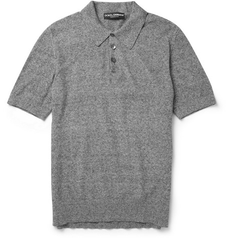 Dolce & Gabbana Knitted Cotton-Piqué Polo Shirt