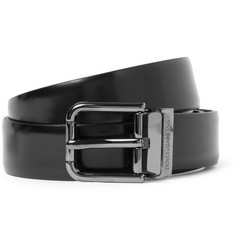 Dolce & Gabbana Black 2.5cm Brushed-Leather Belt