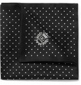 Dolce & Gabbana Dot-Print Silk and Cotton-Blend Satin Pocket Square