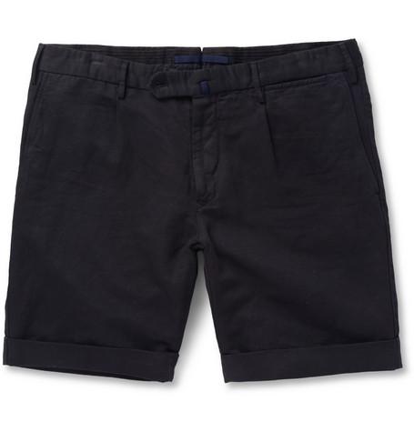 Slim-fit Linen And Cotton-blend Shorts Incotex Limit Offer Cheap Buy Cheap Outlet Locations Orange 100% Original New Arrival Cheap Online oKnwa
