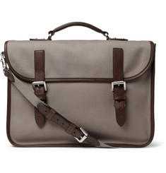 Mulberry Elkington Leather-Trimmed Canvas Briefcase