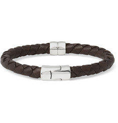 Bottega Veneta - Intrecciato Leather and Silver Bracelet