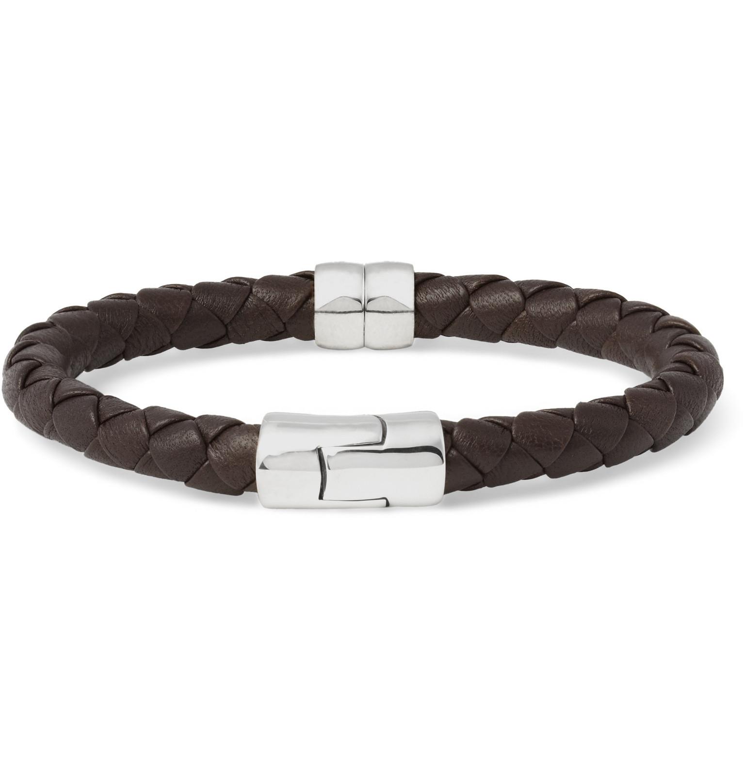 Bottega Veneta Intrecciato Leather And Silver Bracelet - Brown bYBXYW