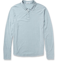 James Perse Long-Sleeved Slub Cotton-Jersey Polo Shirt