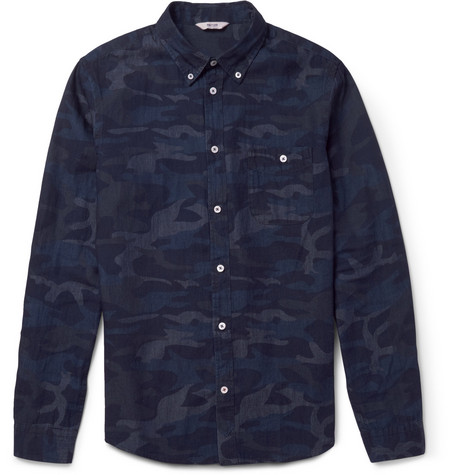 NN.07 Derek Camouflage-Print Cotton-Chambray Shirt