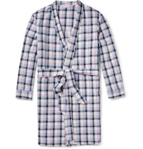 Derek Rose Portofino Plaid Cotton Dressing Gown