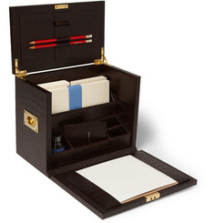 Smythson Mara Croc-Embossed Leather Bureau