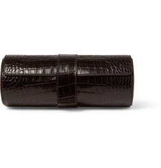 Smythson Crocodile-Embossed Leather Watch Roll