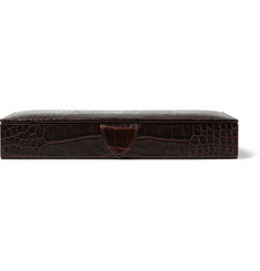 Smythson Croc-Embossed Leather Cufflink Box