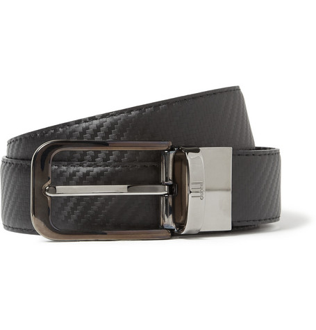 Alfred Dunhill Reversible 3cm Embossed-Leather Belt